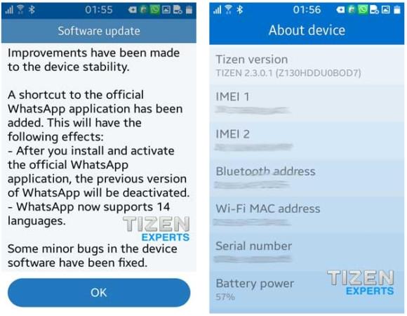 Samsung Z1 Dapatkan Update Perangkat Lunak Keduanya