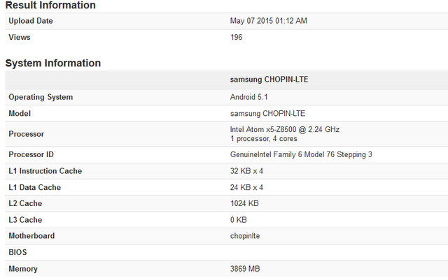 Tablet Samsung Chopin-LTE