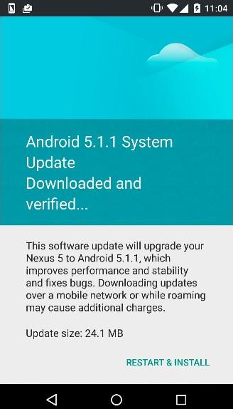 pembaruan android 5.1.1 lollipop Nexus 5