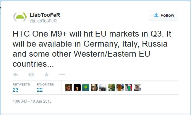 HTC One M9+ Merapat ke Daratan Eropa, Diluncurkan Kuartal Ketiga 2015