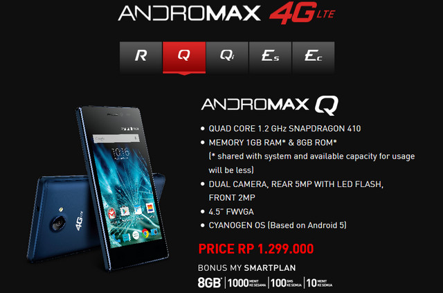 Smartfren Andromax Q 4G LTE Jadi Ponsel Pertama Berplatform Cyanogen di Indonesia