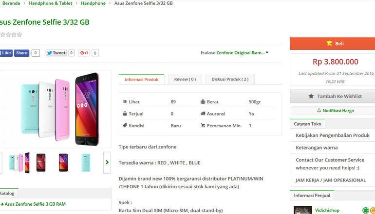 Asus Zenfone Selfie Diam-diam Sudah Dijual di Indonesia