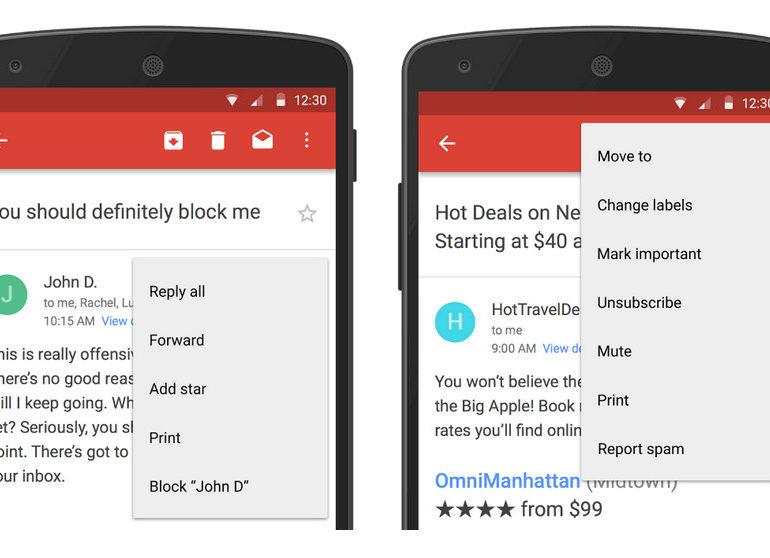 Gmail Untuk Android Bisa Blokir Pengirim dan Berhenti Berlangganan