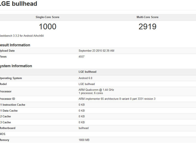 LG Nexus 5X (Bullhead) Muncul Lagi di Geekbench