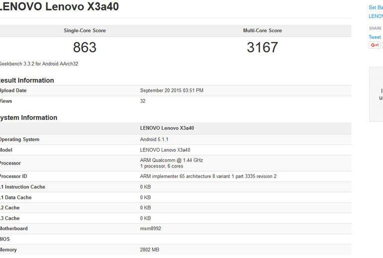 Lenovo Vibe X3 Muncul di GFXBench, Ungkap Snapdragon 808 Didalamnya