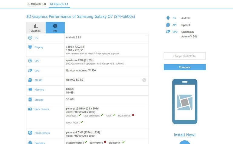 Samsung Galaxy O7 Muncul di GFXBench
