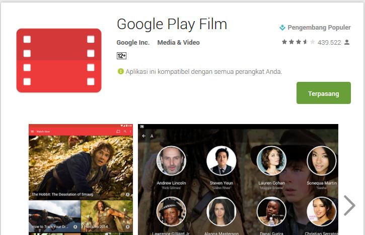 Google Play Film & TV Sudah Diinstal 1 Miliar Pengguna