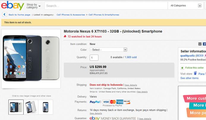 Motorola Nexus 6 32GB Turun Harga, Kini Hanya $ 299,99 di Amerika Serikat