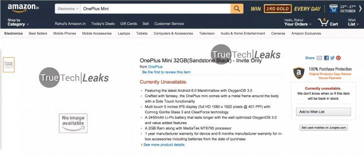 OnePlus Mini Nongol di Amazon India