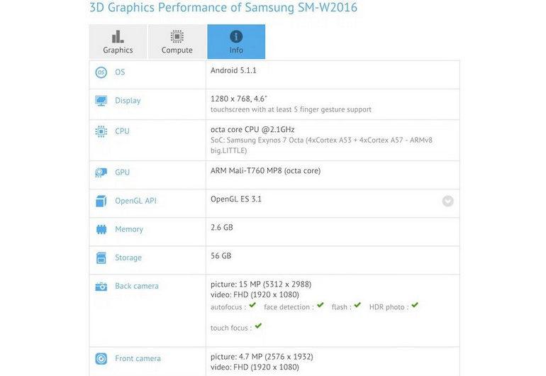 Smartphone SM-W2016 Diduga Samsung Galaxy Golden 3 Muncul di GFXBench