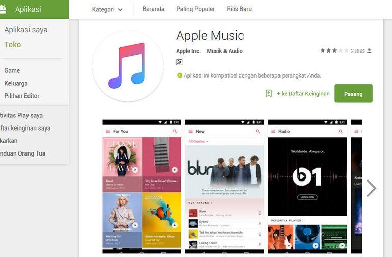 Apple Music Versi Beta Untuk Android Resmi Hadir di Google Play