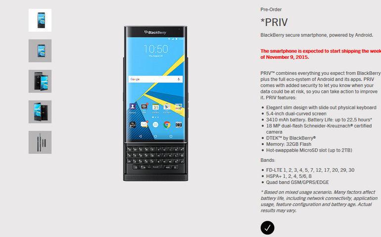 Rilis Blackberry Priv Ditunda Hingga 9 November