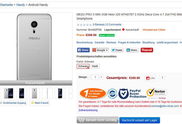 Spesifikasi Meizu Pro 5 Mini Diungkap Oleh Toko Online Eropa