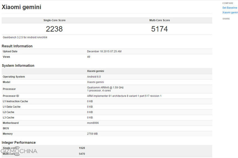 Xiaomi Mi 5 (Gemini) Cetak Skor Lagi, Uji Multi-Core Lebih Baik Dari iPhone 6s