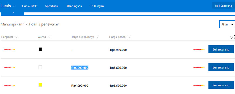 Banting Harga, Lumia 1020 Didiskon 48%
