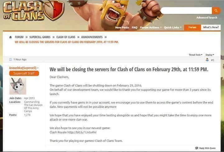 Clash of Clans (COC) Bakal Ditutup