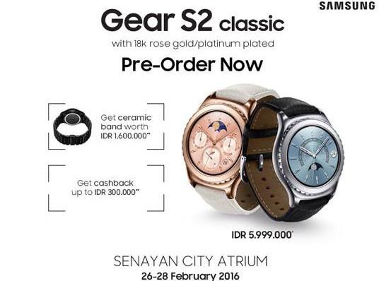 Harga Rp 6 Juta, Pre-Order Samung Gear S2 Classic Rose Gold 18K & Platinum Dibuka di Senayan City Atrium
