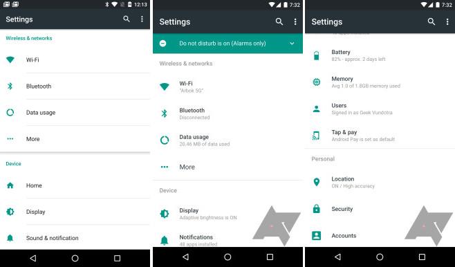 Begini Antarmuka Menu Pengaturan Android N