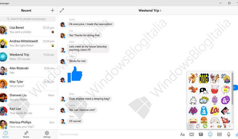 Gambar Screenshot Perlihatkan Facebook Messenger Resmi Untuk Windows 10