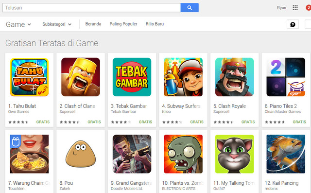 Tahu Bulat Singkirkan Clash of Clans (COC) di Top Free Google Play Store