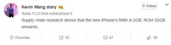 Varian Standar iPhone 7 Berbekal Memori Internal 32GB