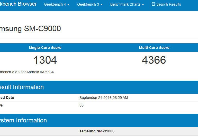 Samsung Galaxy C9 Pamer RAM 6GB di Geekbench