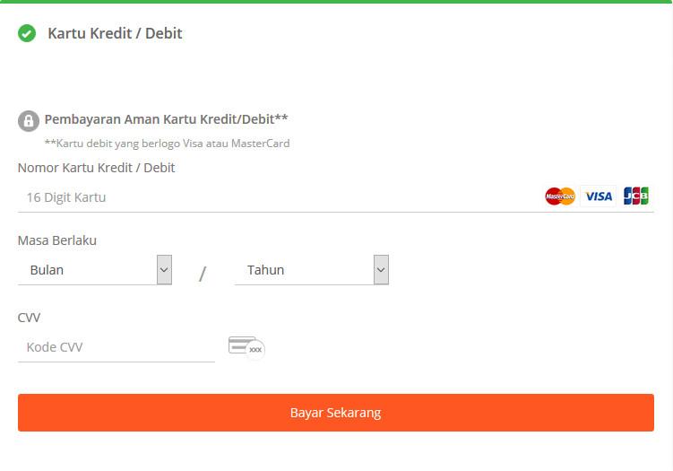 cara pembayaran Tokopedia - kartu kredit