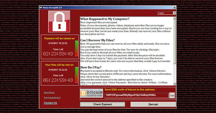 Tampilan komputer yang terinfeksi WannaCry