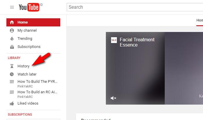 Menghapus History Pencarian Youtube di Laptop