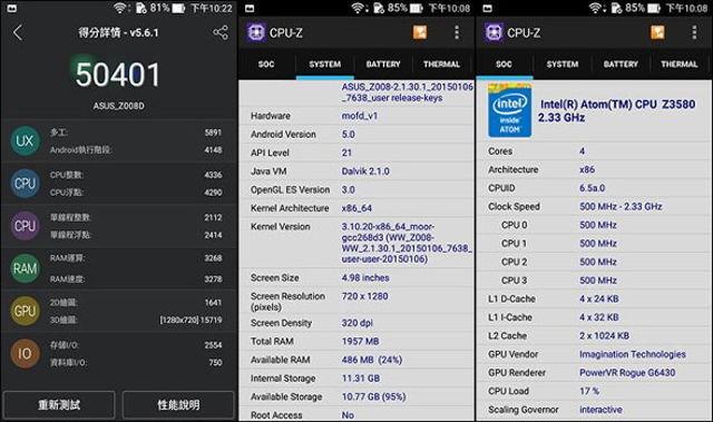 AnTuTu dan CPU-Z Asus Zenfone 2