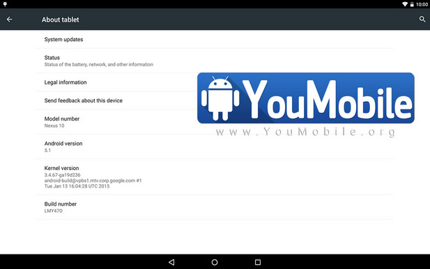 Android 5.1 Nexus 10