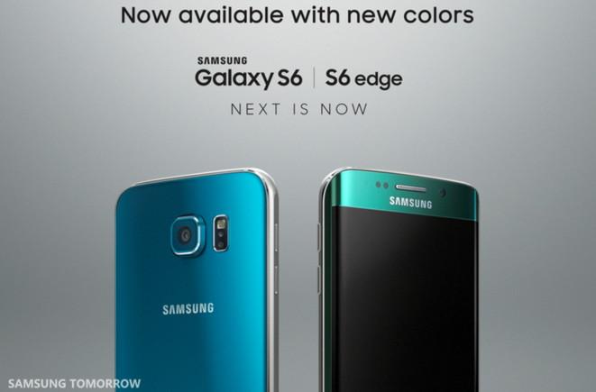 Samsung menambah satu pilihan warna baru untuk masing-masing ponsel unggulannya. Samsung Galaxy S6 Edge kini tersedia warna Topaz biru dan S6 Edge warna hijau zamrud.