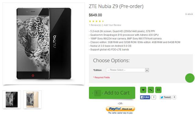 ZTE Nubia Z9 pre-order internasional