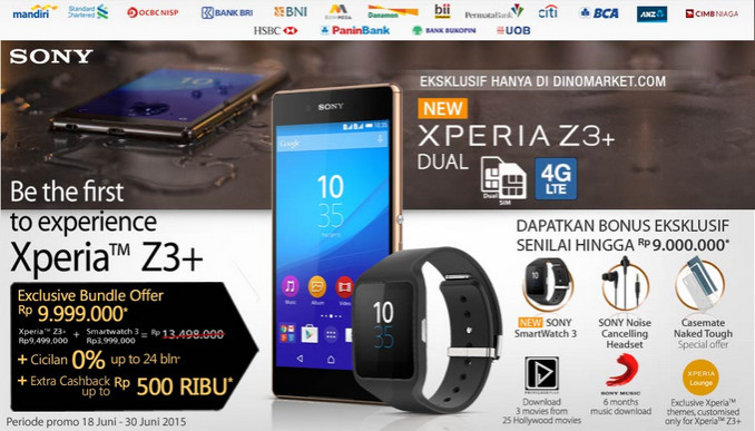 Pre-order Sony Xperia Z3+ di Indonesia