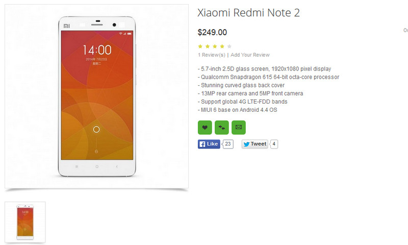 Spesifikasi Xiaomi Redmi Note 2 Terungkap Berkat Pengecer