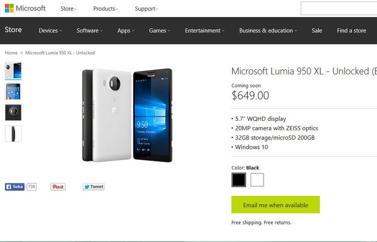 Lumia 950 & 950 XL Sudah Terpampang di Microsoft Store, Tapi…
