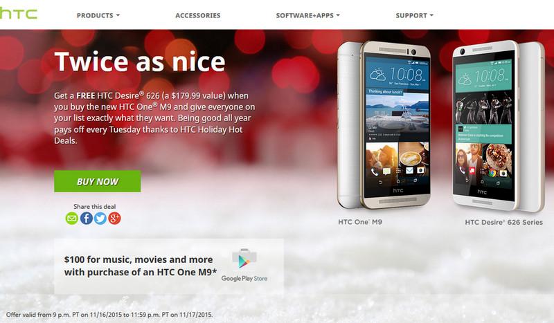 Beli HTC One M9 Bisa Dapat Gratis Desire 626 & Kredit $100 di Google Play Store