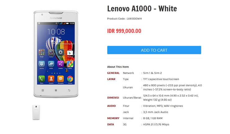 Lenovo A1000 Diam-diam Beredar di Indonesia