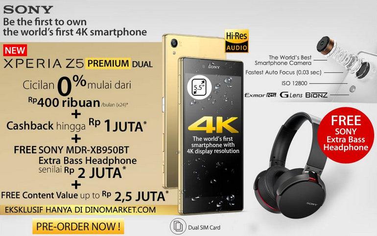 Bonus BSP60 Untuk Pre-Order Sony Xperia Z5 Premium di Dinomarket Diganti Jadi Headset MDR-XB950BT