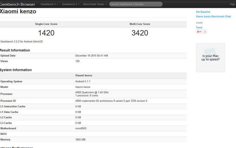 Perangkat Dengan Kode Kenzo Diduga Xiaomi Redmi 3 Muncul di Geekbench