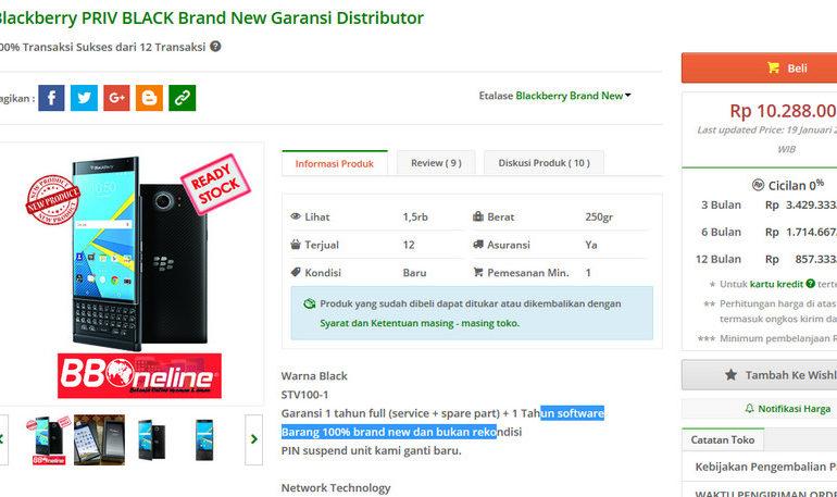 Blackberry Priv Sudah Dipasarkan di Indonesia Loh, Harga Rp 10,2 Juta