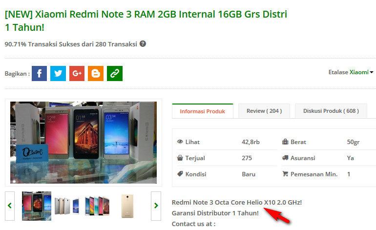 Di Indonesia, Xiaomi Redmi Note 3 yang Dijual Hanya Versi MediaTek