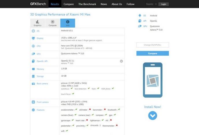 GFXBench Ungkap Spesifikasi Xiaomi Max