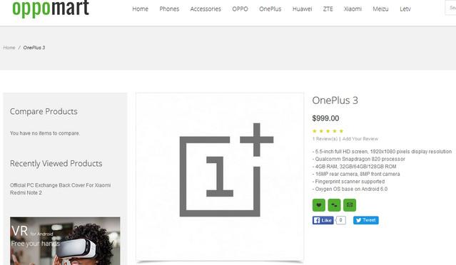 OnePlus 3 Muncul di Oppomart Dengan Snapdragon 820 dan RAM 4GB