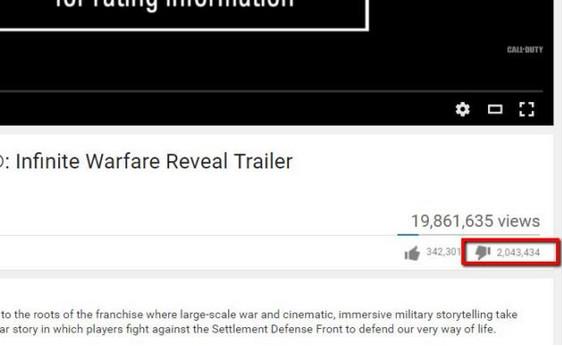 "Trailer Call Of Duty: Infinite Warfare Panen ""Dislike"""