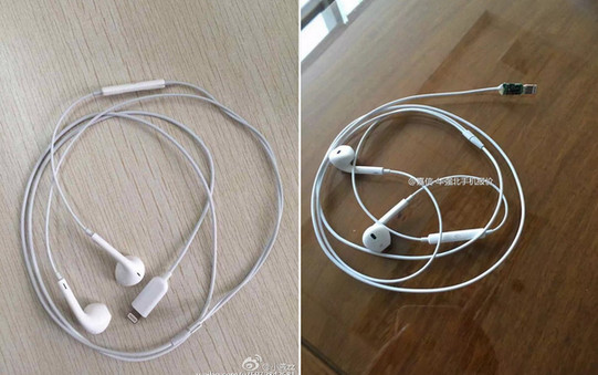Foto Apple EarPods iPhone 7 dengan Konektor Petir Terlihat