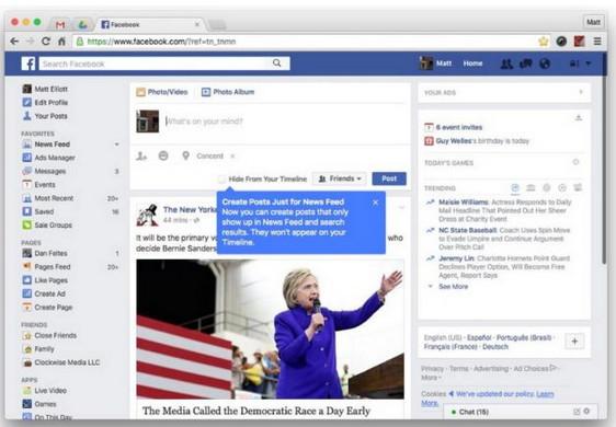 Posting Status Facebook Muncul di News Feed Tapi Tidak di Timeline? Bisa!