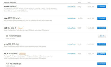 Apple Rilis iOS 10.1, watchOS 3.1 dan tvOS 10.0.1 Beta 2 untuk Pengembang
