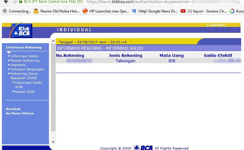 Mengenai KlikBCA Individual – Informasi Rekening