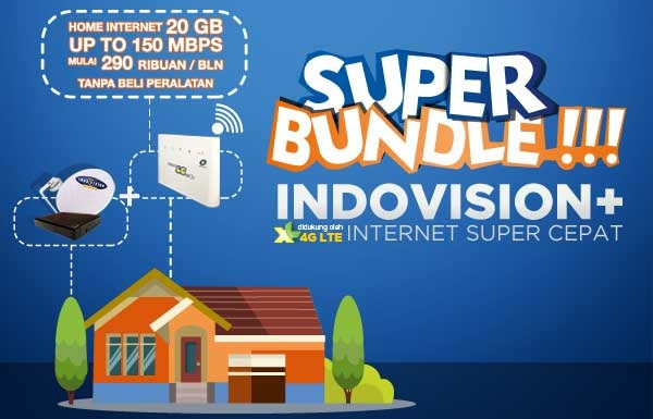 paket tv kabel dan inter  indovision super bundle